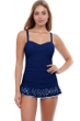 Profile by Gottex Tutti Frutti Navy D-Cup Scoop Neck Laser Cut Underwire Swimdress
