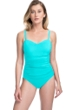 Profile by Gottex Tutti Frutti Light Jade D-Cup Scoop Neck Shirred Underwire One Piece Swimsuit