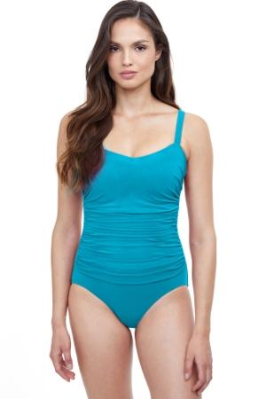 Profile by Gottex Tutti Frutti Ocean Blue Underwire D-Cup Wide Strap One Piece Swimsuit