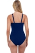 Profile by Gottex Tutti Frutti Navy D-Cup Scoop Neck Shirred Underwire One Piece Swimsuit