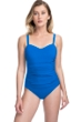 Profile by Gottex Tutti Frutti Blue D-Cup Scoop Neck Shirred Underwire One Piece Swimsuit