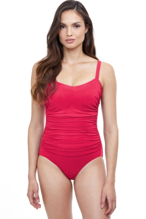 Profile by Gottex Tutti Frutti Pink Underwire D-Cup Wide Strap One Piece Swimsuit