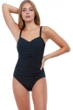 Profile by Gottex Tutti Frutti Black E-Cup Scoop Neck Shirred Underwire One Piece Swimsuit