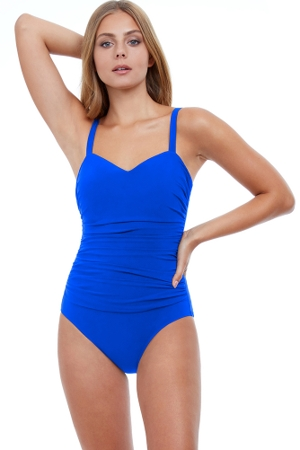 Profile by Gottex Tutti Frutti Cup Sized Scoop Neck Shirred Underwire One Piece Swimsuit