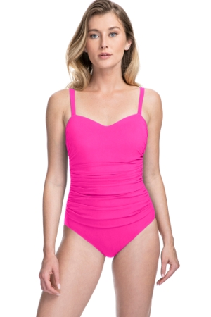 Profile by Gottex Tutti Frutti Pink E-Cup Scoop Neck Shirred Underwire One Piece Swimsuit