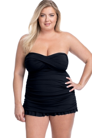 Profile by Gottex Tutti Frutti Black Plus Size Cross Over Bandeau Strapless Swimdress