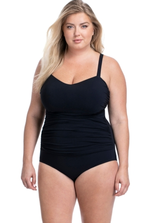 Profile by Gottex Tutti Frutti Black Plus Size Scoop Neck Shirred Underwire One Piece Swimsuit