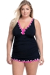 Profile by Gottex Tutti Frutti Black and Pink Plus Size V-Neck Swimdress