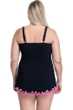 Profile by Gottex Tutti Frutti Black and Pink Plus Size V-Neck Swimdress