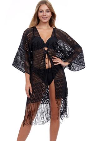 Profile by Gottex Tutti Frutti Open Front V-Neck Crochet Dress One Size