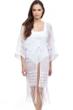 Profile by Gottex Tutti Frutti White Open Front V-Neck Crochet Dress
