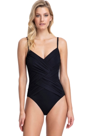 Gottex Contour Lattice Black V-Neck One Piece Swimsuit