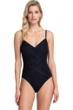 Gottex Contour Lattice Black V-Neck One Piece Swimsuit