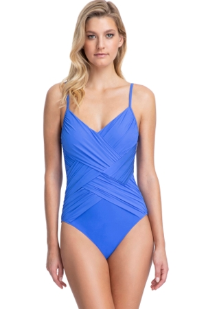 Gottex Contour Lattice Sapphire V-Neck One Piece Swimsuit