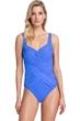 Gottex Contour Lattice Sapphire Square Neck One Piece Swimsuit
