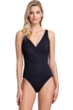 Gottex Contour Lattice Black Surplice One Piece Swimsuit