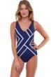 Gottex Essentials Mirage Navy and White V-Neck One Piece Swimsuit