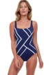 Gottex Essentials Mirage Navy and White Square Neck One Piece Swimsuit