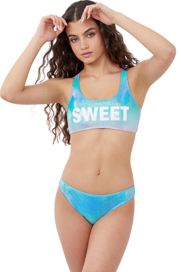 Gottex Girls Textured Ombre Bralette Bikini Top with Matching Bikini Bottom