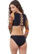 Gottex Girls Superhero Long Sleeve Cropped Lace Up Rash Guard Top with Matching Bikini Bottom