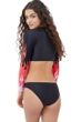 Gottex Girls Fire Starter Long Sleeve Cropped Zip Up Rash Guard Top with Matching Bikini Bottom