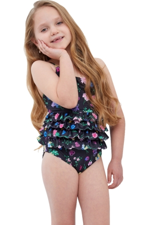 Gottex Kids Daisies Ruffle Tiered Square Neck One Piece Swimsuit