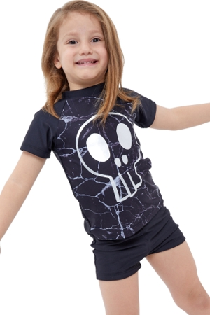 Gottex Kids Silver Skull Short Sleeve Swim Shirt with Matching Swim Short
