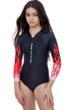 Gottex Kids Fire Starter Long Sleeve Zip Up Rash Guard One Piece Swimsuit