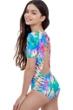 Gottex Kids Tie Dye Short Sleeve Tie Back One Piece Swimsuit