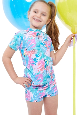 Gottex Kids Neon Palms Short Sleeve Swim Shirt with Matching Swim Short