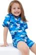 Gottex Kids Blue Camo Short Sleeve Zip Up Swim Overalls