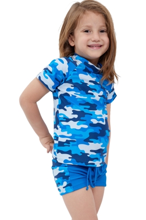 Gottex Kids Blue Camo Short Sleeve Swim Shirt with Matching Swim Short