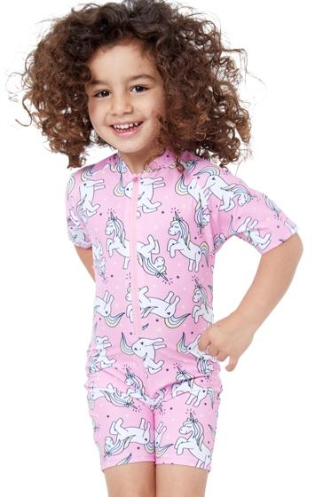 Gottex Kids Pink Unicorns Short Sleeve Zip Up Swim Overalls