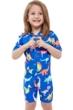 Gottex Kids Blue Dinosaurs Short Sleeve Zip Up Swim Overalls