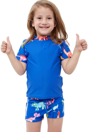 Gottex Kids Blue Dinosaurs Short Sleeve Swim Shirt with Matching Swim Short