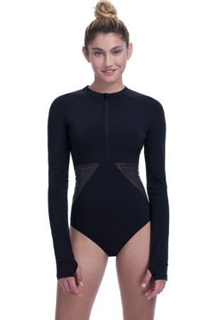 Free Sport by Gottex Urbaneer Black High Neck Zip Front Long Sleeve One Piece Swimsuit