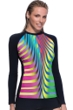 Profile Sport by Gottex Eclipse Long Sleeve Swim Rash Guard with Soft Cup Bra