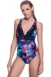 Profile Sport by Gottex Cosmos V-Neck Plunge Strappy Back One Piece Swimsuit