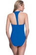 Profile Sport by Gottex Impact Blue High Neck Zipper Racerback One Piece Swimsuit