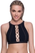 Profile Sport by Gottex DNA Black/Gold High Neck V-Back Bikini Top