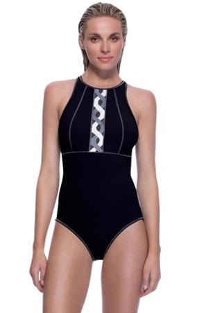 Profile Sport by Gottex DNA Black High Neck V-Back One Piece Swimsuit