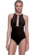 Profile Sport by Gottex DNA Black/Gold High Neck V-Back One Piece Swimsuit