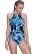 Profile Sport by Gottex Moonstone Blue Mesh Inset High Neck V-Back One Piece Swimsuit