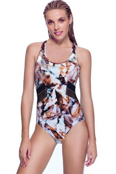 Profile Sport by Gottex Moonstone Brown Mesh Inset X-Back One Piece Swimsuit