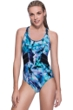Profile Sport by Gottex Moonstone Blue Mesh Inset X-Back One Piece Swimsuit