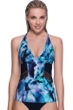Profile Sport by Gottex Moonstone Blue V-Neck Mesh Inset Racerback Tankini Top