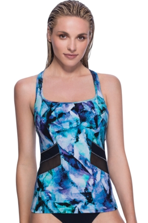 Profile Sport by Gottex Moonstone Blue Mesh Inset D-Cup Underwire Y-Back Tankini Top