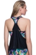 Profile Sport by Gottex Spirograph D-Cup Blouson Racerback Tankini Top with attached Swim Bra