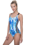Free Sport Jungle Fever Blue Mesh Y-Back One Piece Swimsuit