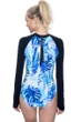 Free Sport Jungle Fever Blue High Neck Long Sleeve One Piece Swimsuit